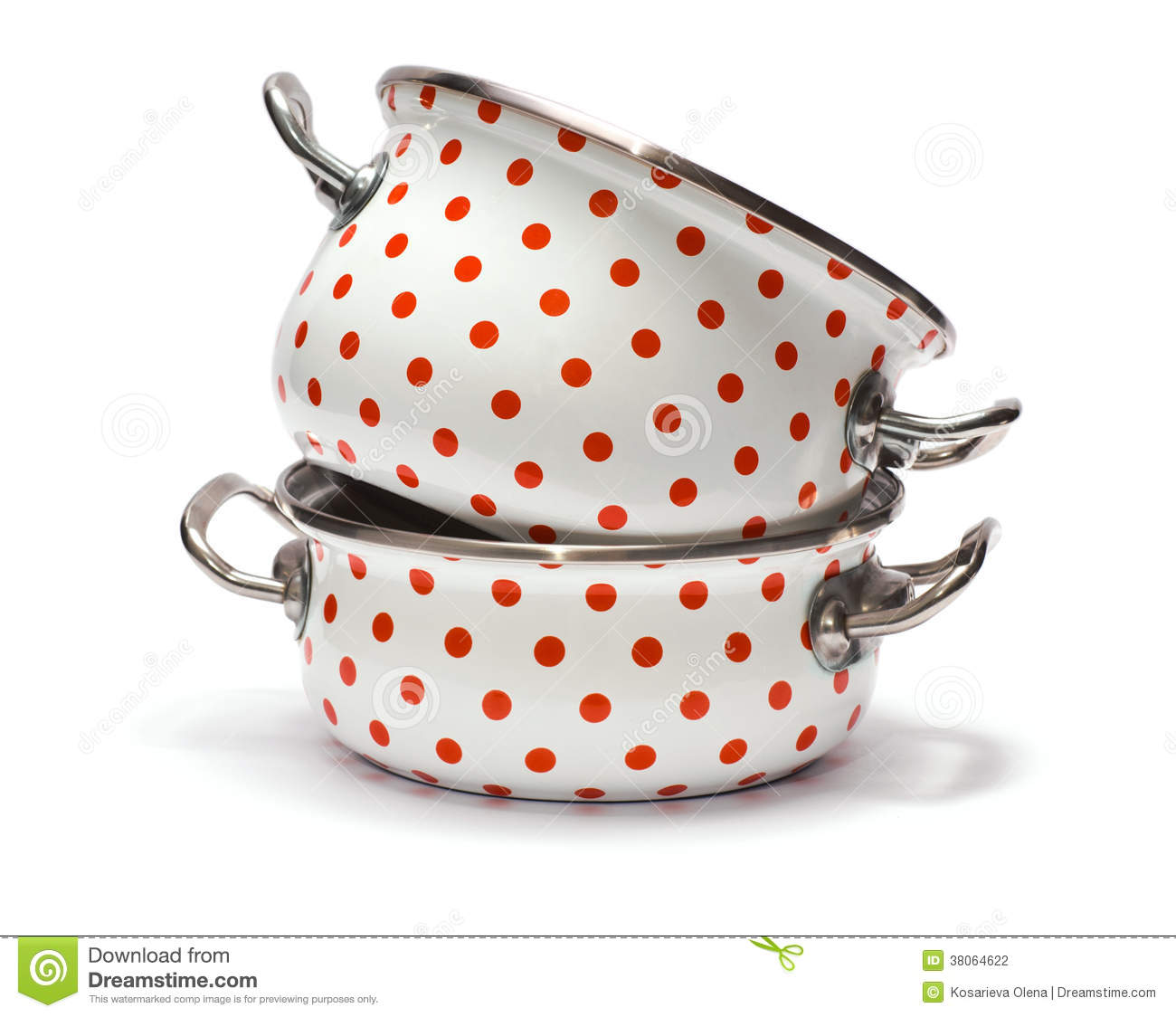 two saucepans with red dots isolated on white stock photo image of