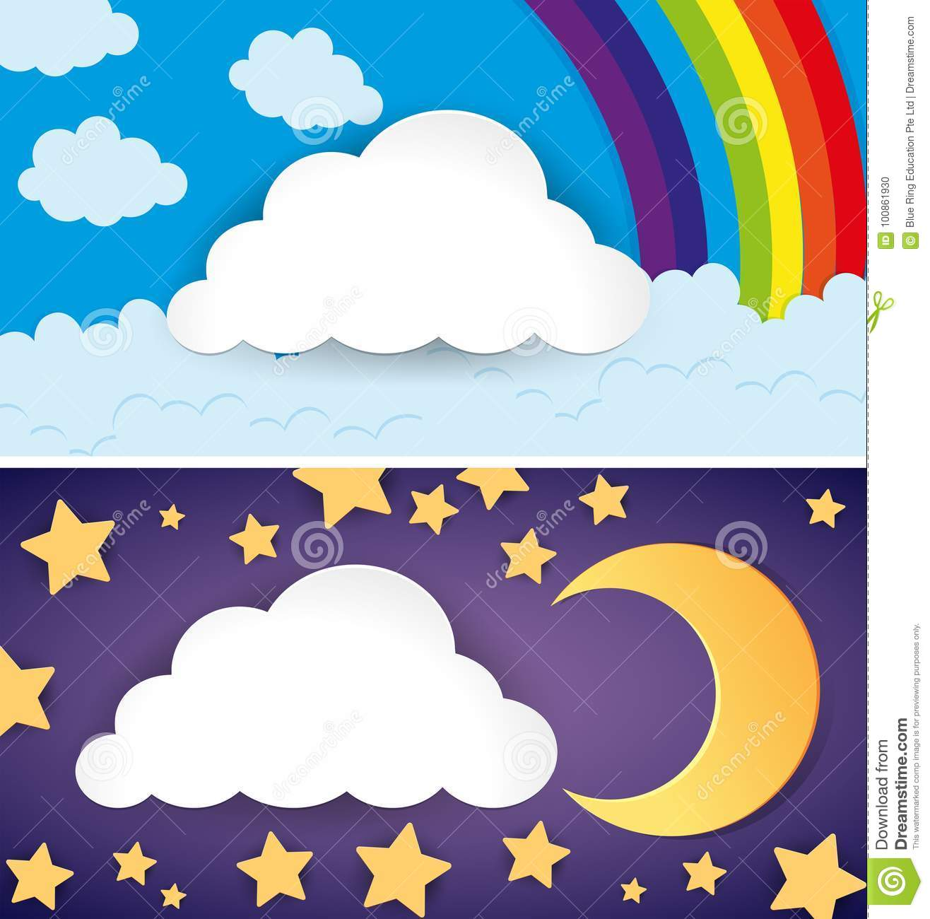 Two Scenes Of Day And Night Stock Vector - Illustration of