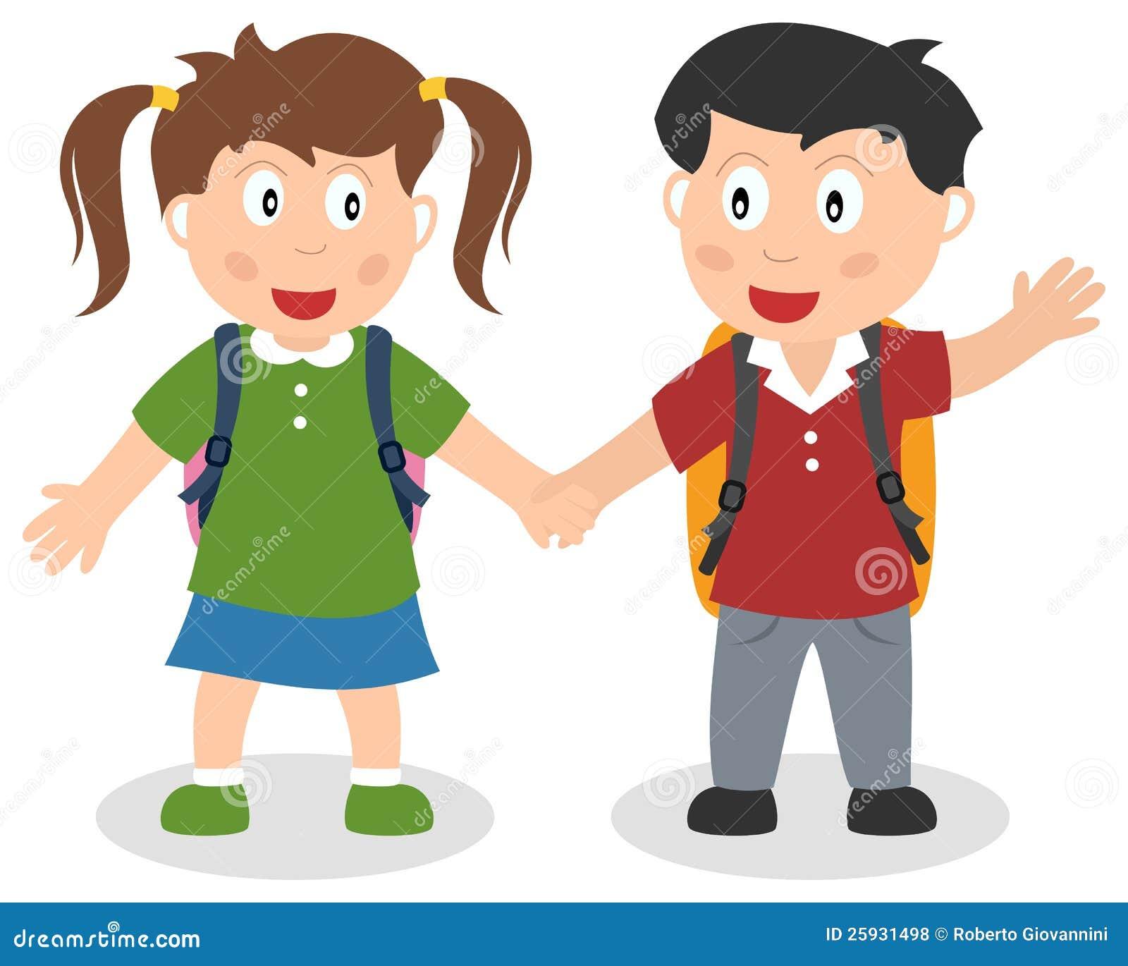 Two School Kids Holding Hands Stock Vector - Illustration ...