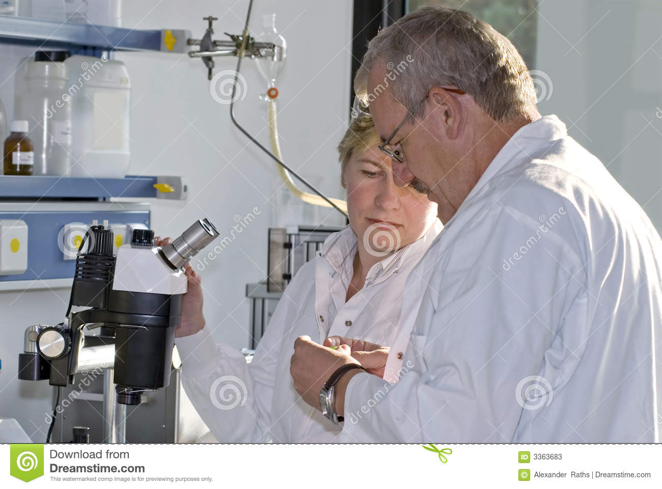 Two science technicians