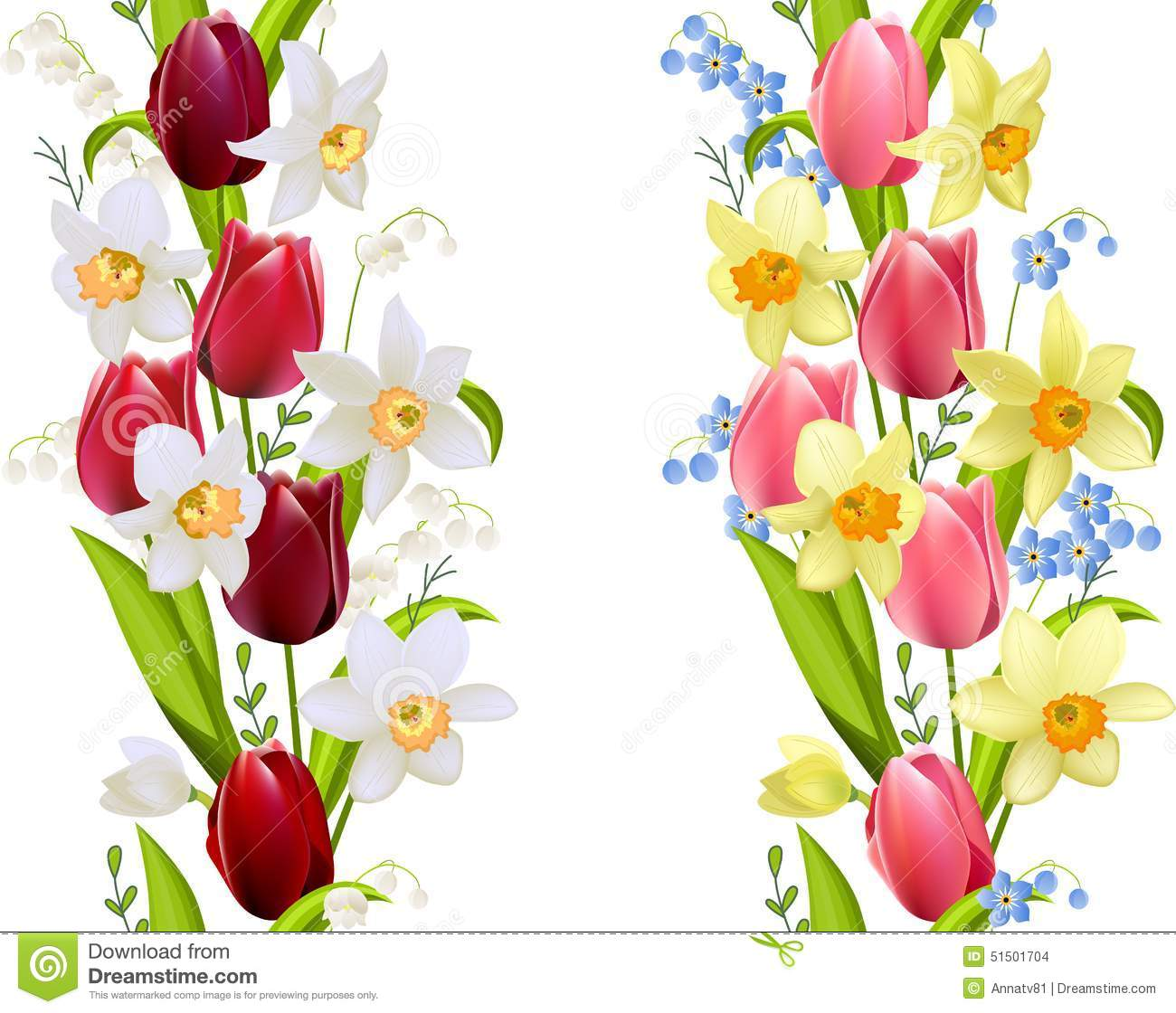 Two Seamless Borders With Spring Flowers Stock Vector Illustration