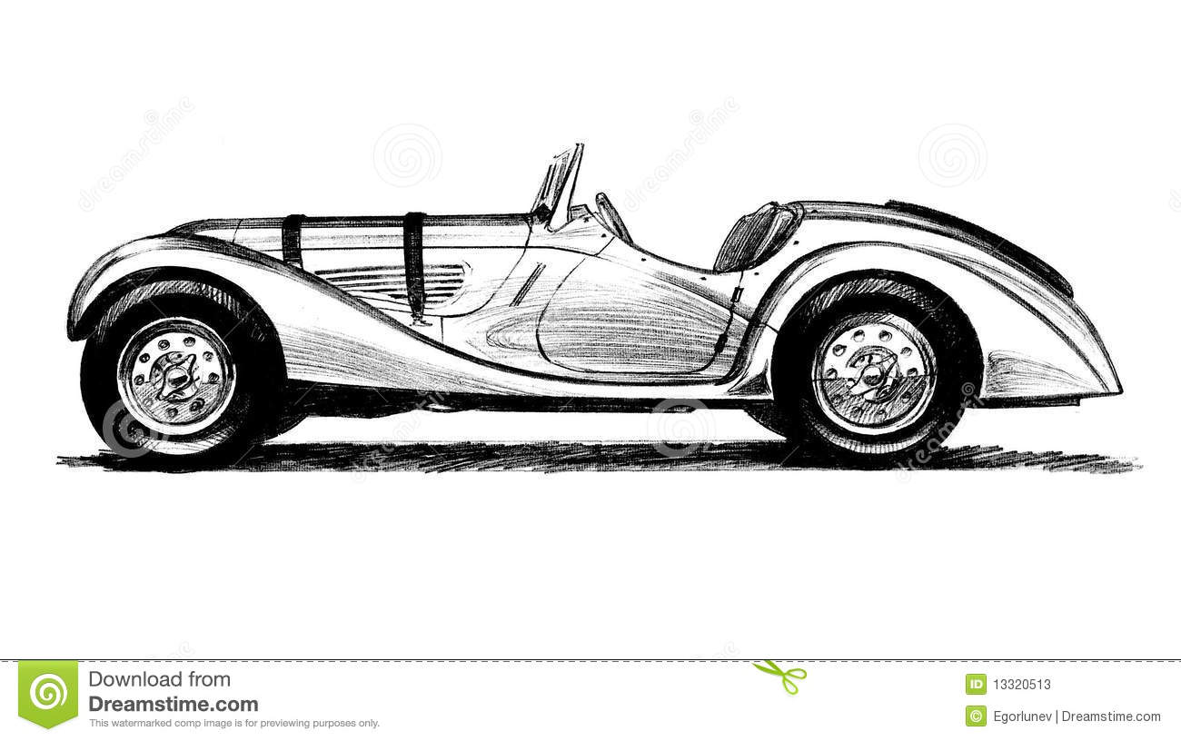 Two-seater antique car stock illustration. Illustration of powerful ...