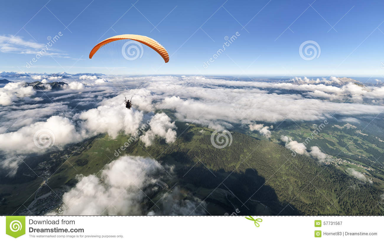 Two-seater paraglider above the clouds
