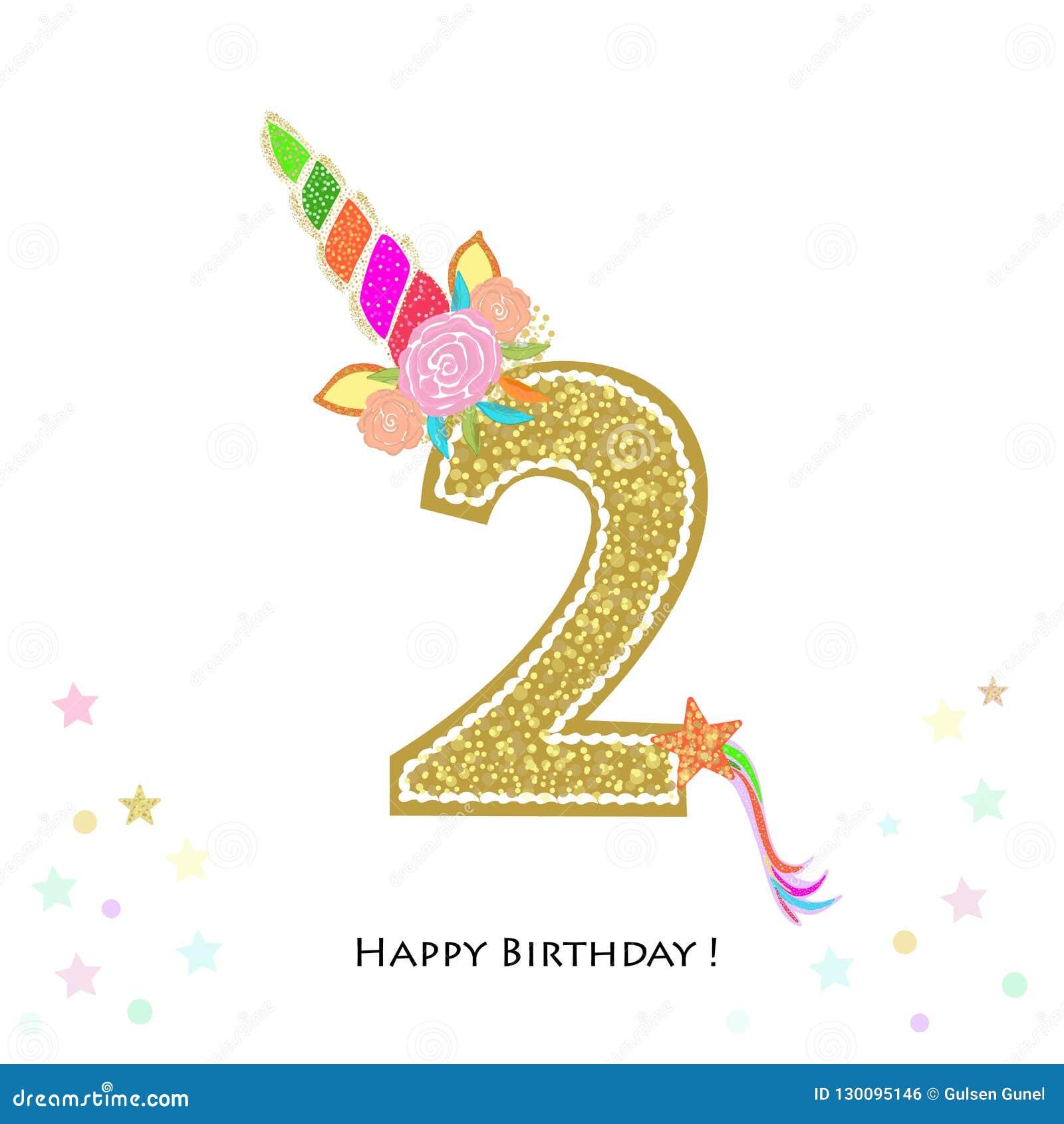 Two Second Birthday Colorful Unicorn Birthday Invitation
