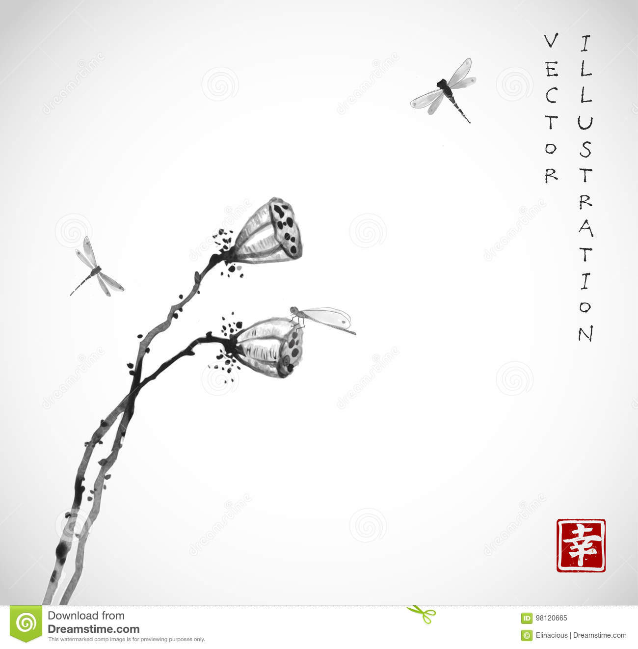 Two Seed Heads Of A Dry Lotus Flower And Dragonflies On White