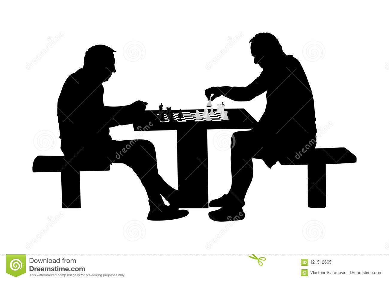 Two Seniors Man Playing Chess Game Outdoor In Park Vector
