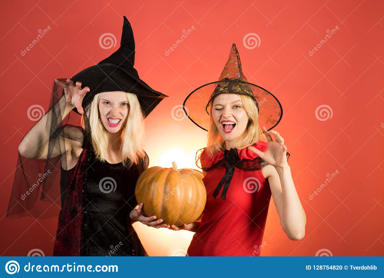 Halloween Costumes For Two Friends.Two Halloween Girls With Pumpkin Best Friends Girls
