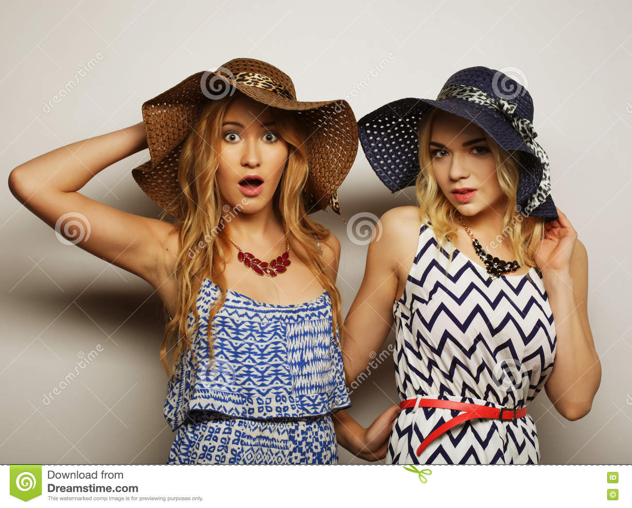 a14370d7ef81 Fashion concept  two young women in summer fashion dress and straw hats