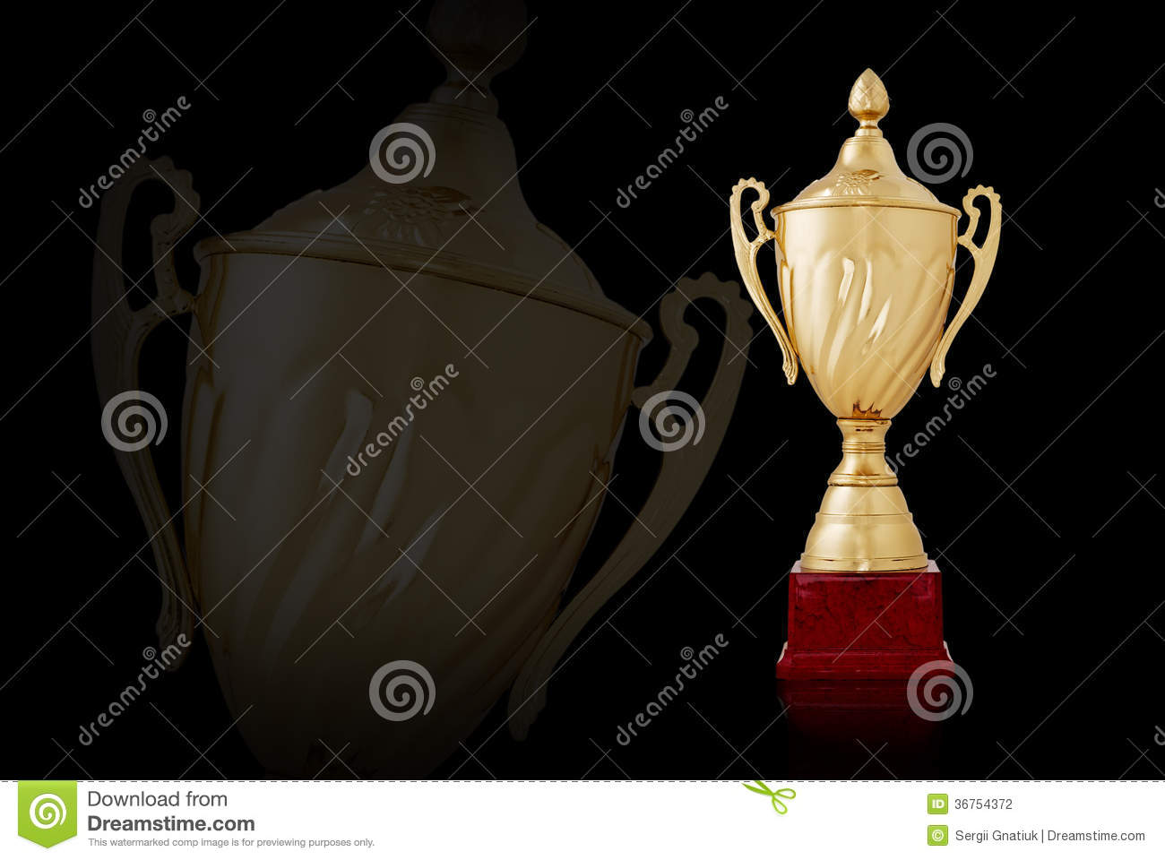 Download Two Shiny Golden Trophies On Black Background Stock Illustration