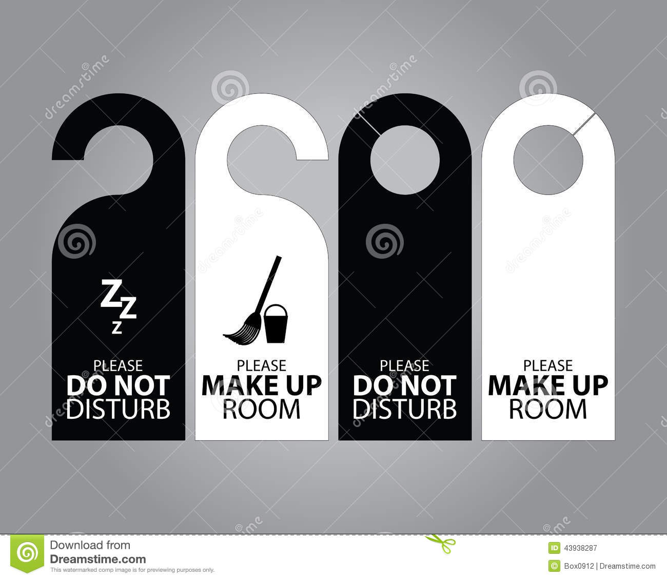 Two Side Black And White Door Hanger Tags For Room In