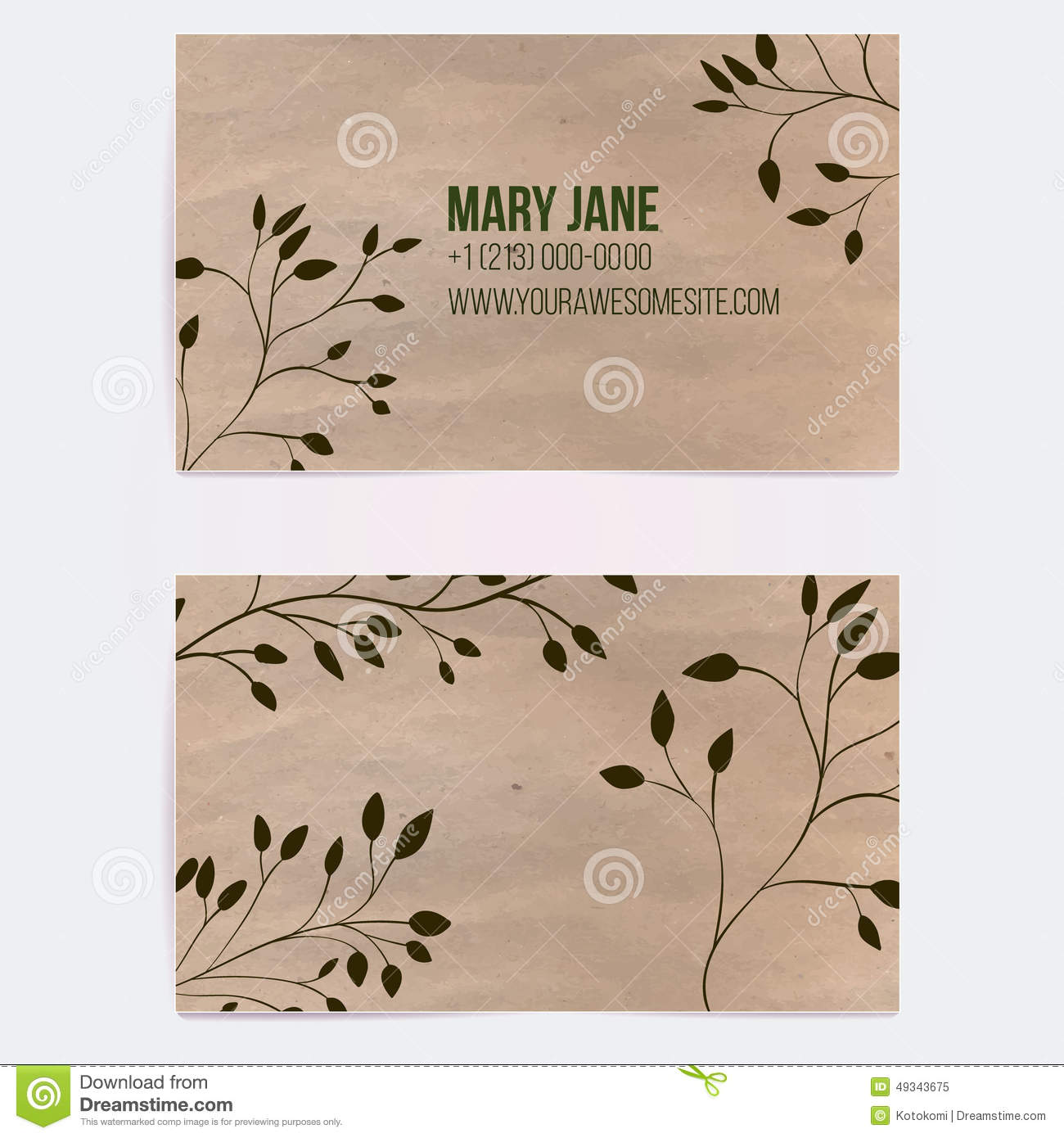 Two sided business card for natural cosmetics stock vector for Craft paper card stock
