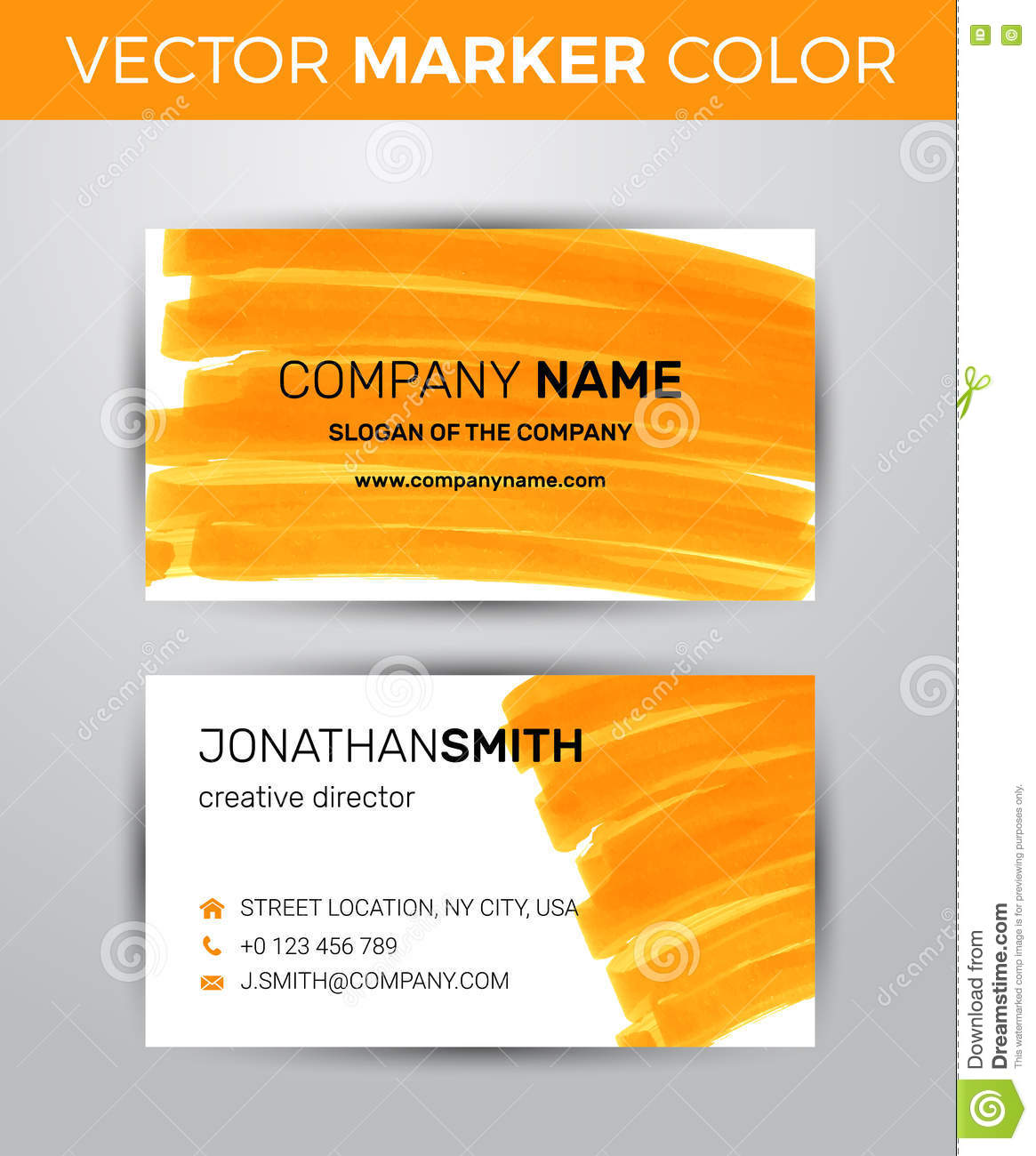 Two sided business card template orange paint strokes markers two sided business card template orange paint strokes markers friedricerecipe Gallery
