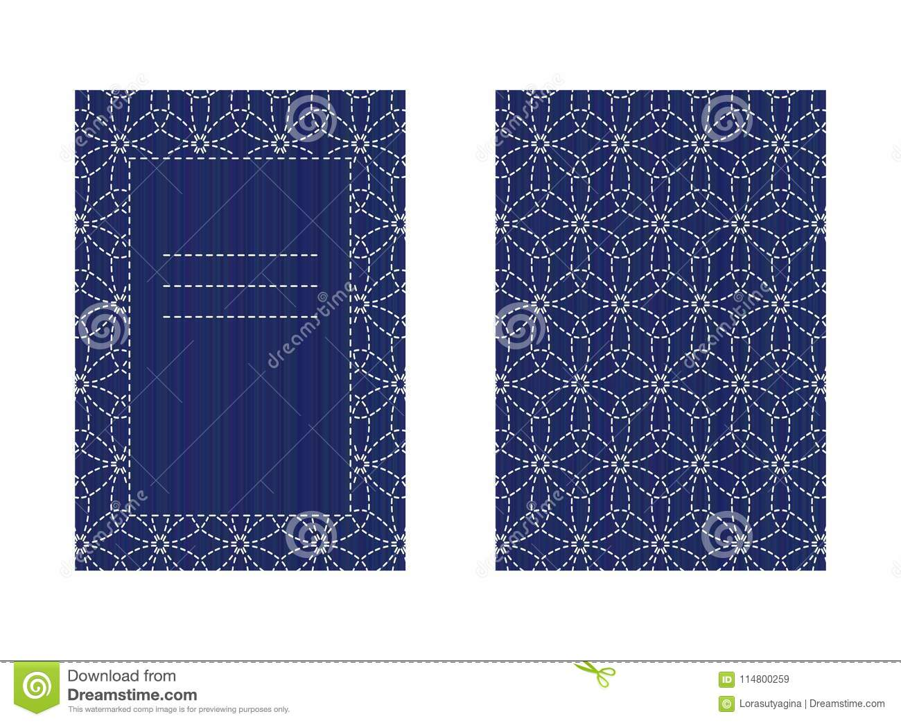 Two-sided Sashiko Card Isolated On White Stitching Stock Vector ...
