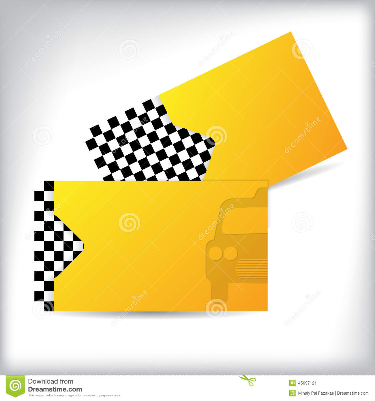 Two Sided Taxi Business Card Design Stock Vector Illustration Of