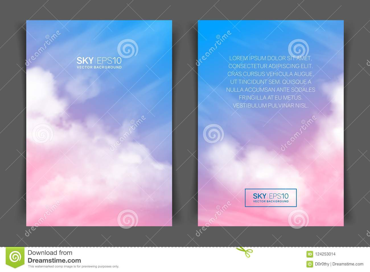 two sided vertical flyer of a4 format with realistic pink blue sky