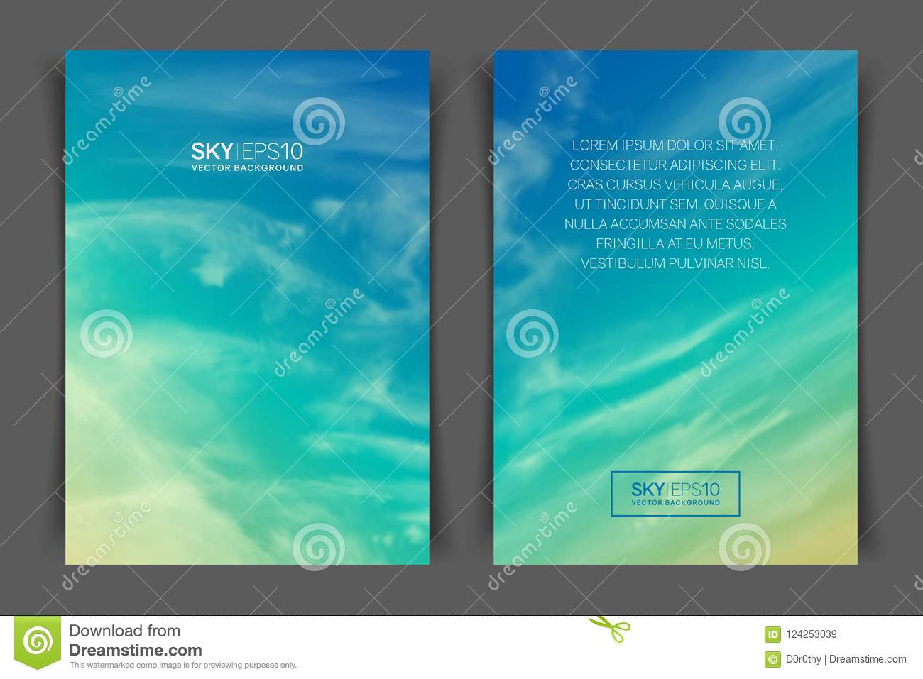 two sided vertical flyer of a4 format with realistic turquoise