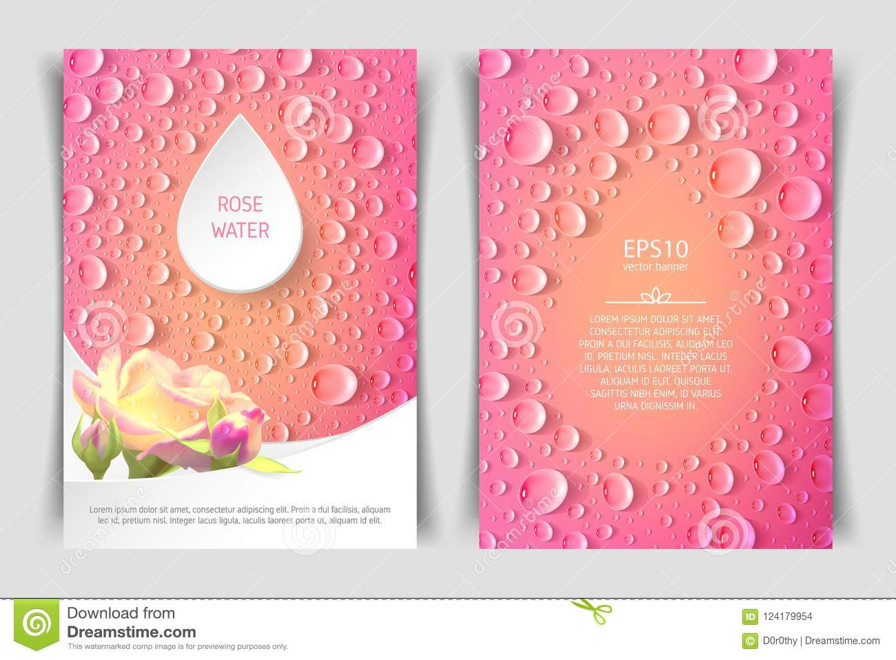 two sided vertical flyer of a4 format with roses and drops stock