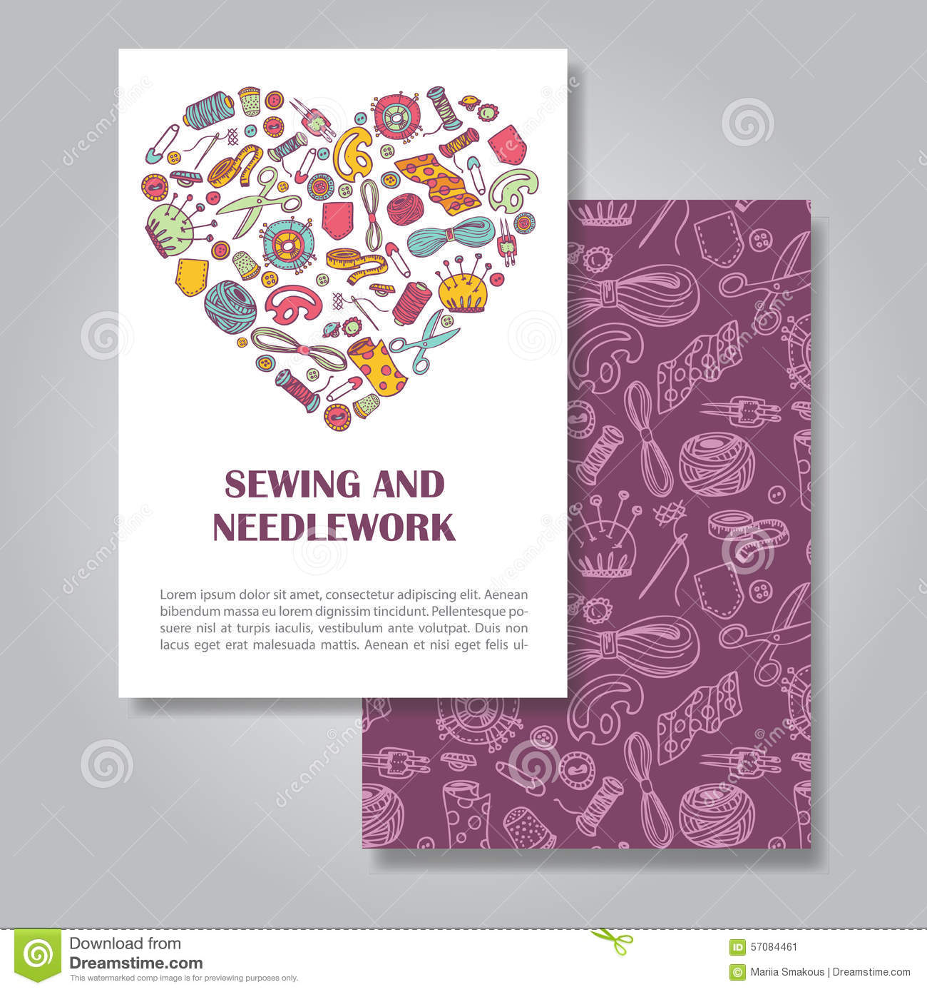 Two Sides Invitation Card Design With Sewing And ...