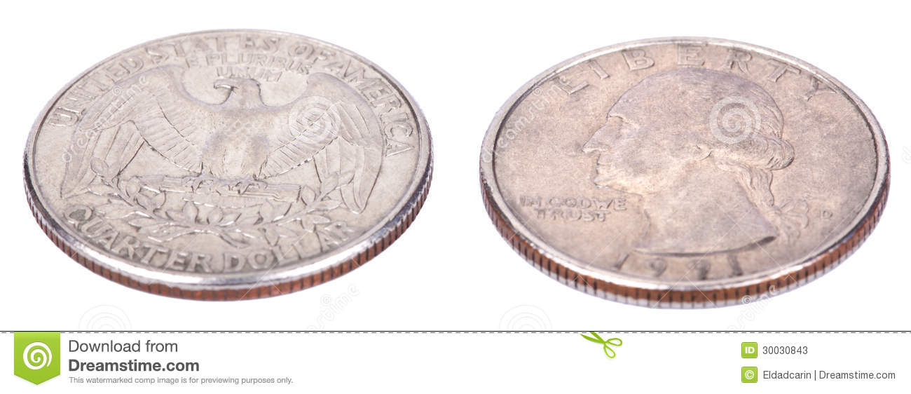 Isolated Quarter - Both Sides High Angle Stock Image - Image of