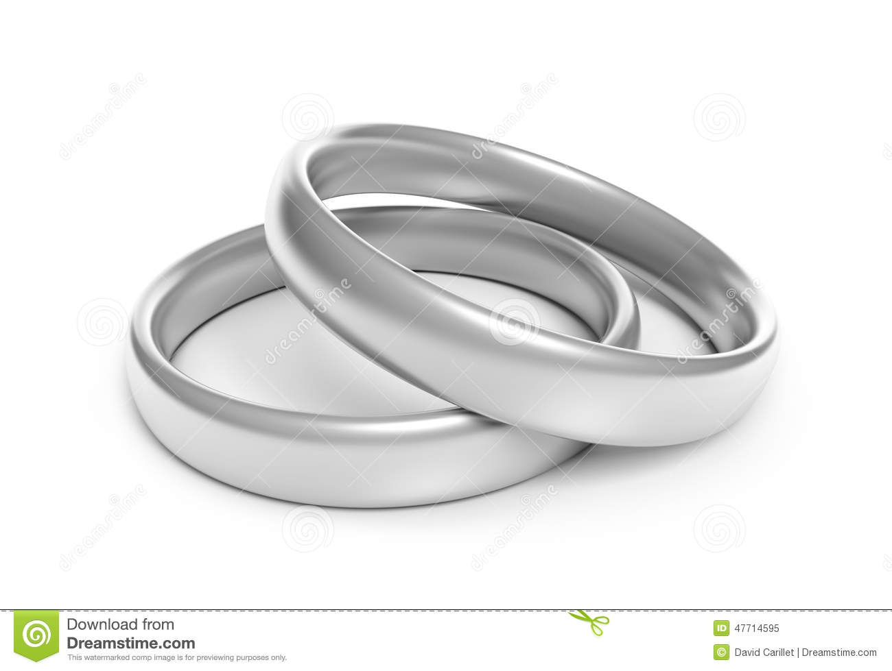 Two Silver Engagement Or Wedding Rings For A Couples Wedding