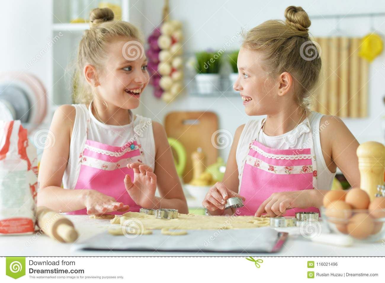 Two sisters in the kitchen stock photo. Image of enjoyment ...
