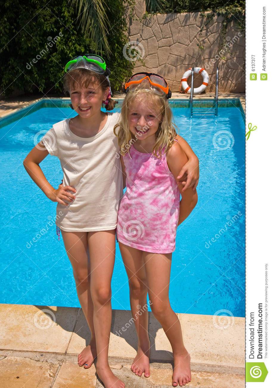 sisters by the pool
