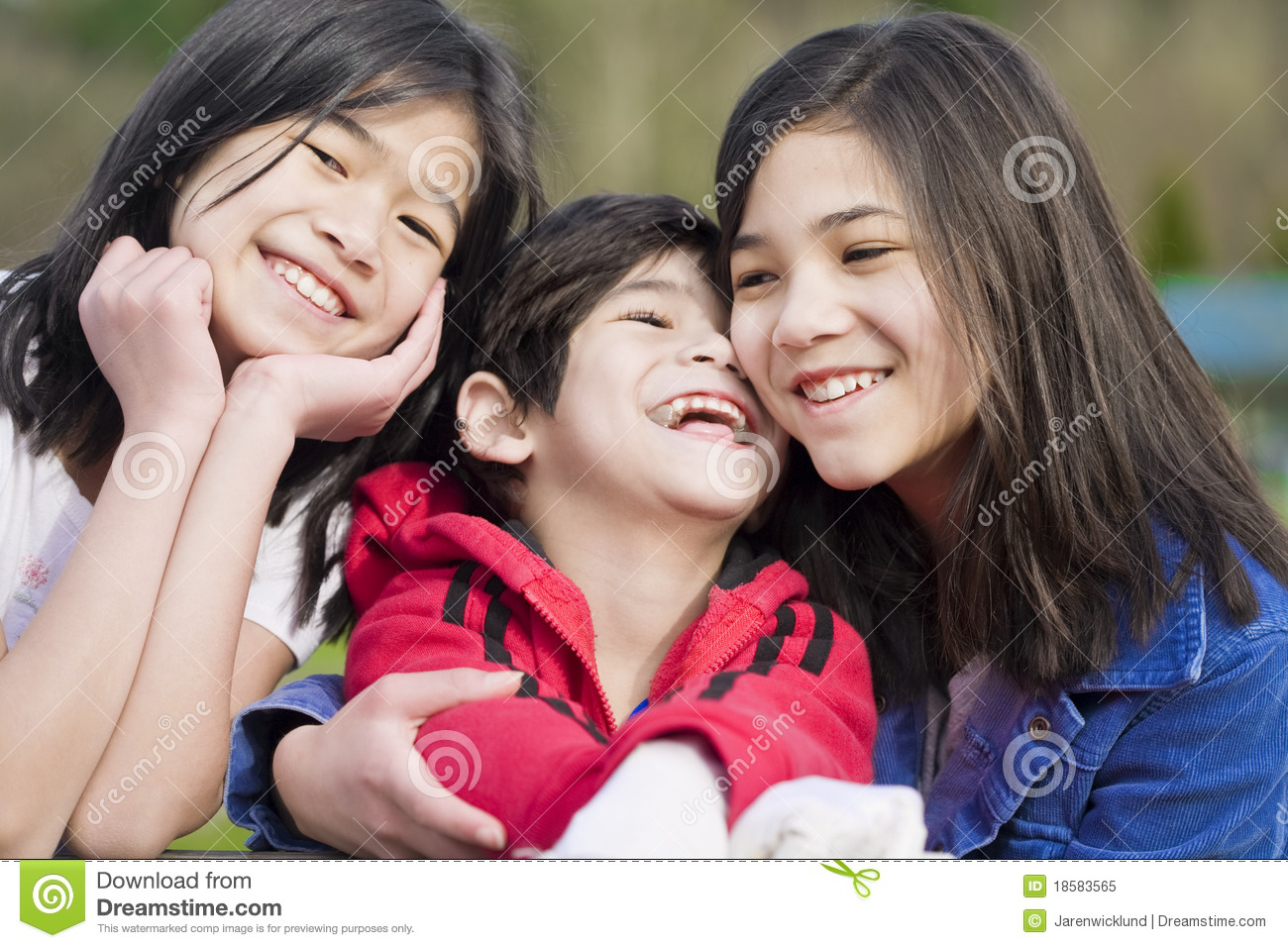 two sisters and their disabled little brother royalty free stock photo image 18583565. Black Bedroom Furniture Sets. Home Design Ideas
