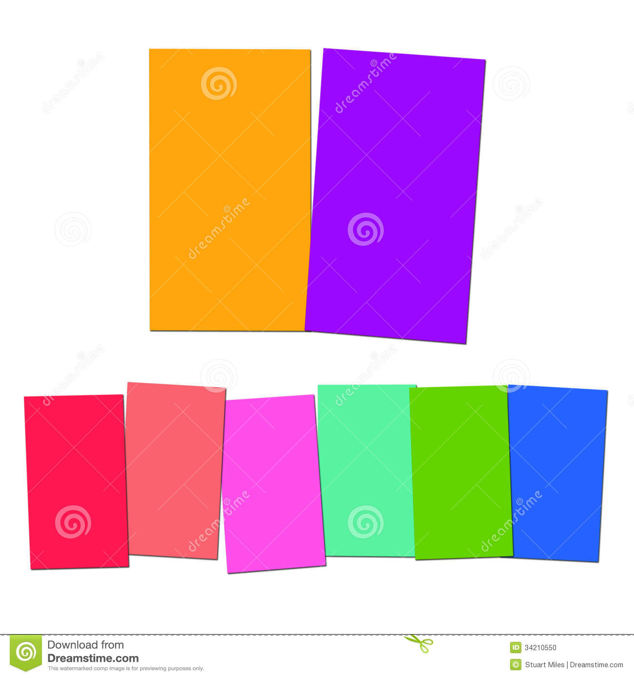 Two And Six Blank Paper Slips Show Copyspace For 2 Or 6 Letter W