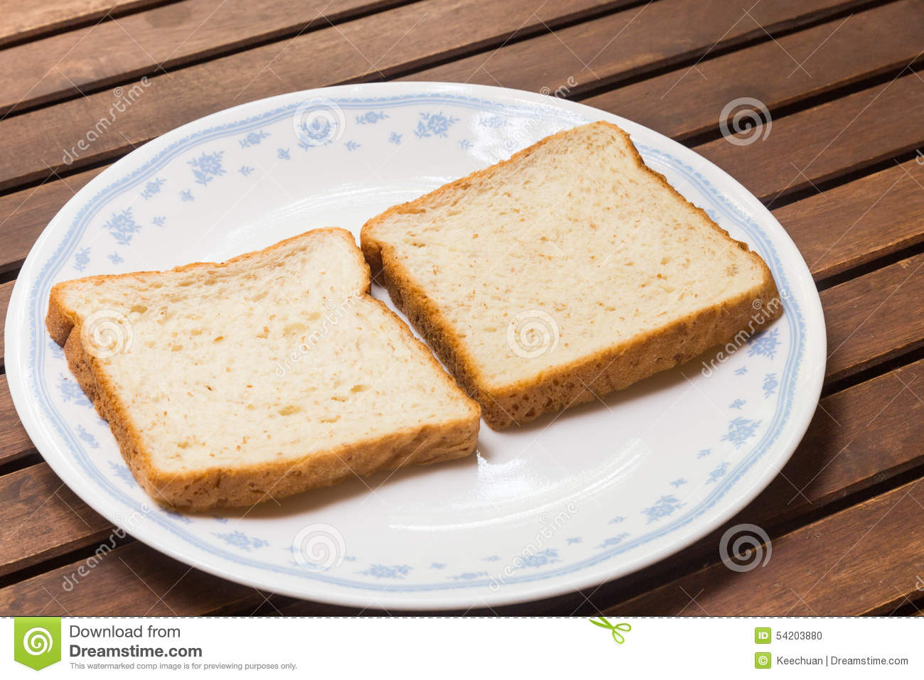 Two Slices Of Plain Wholemeal Bread On Plate Stock Photo ...