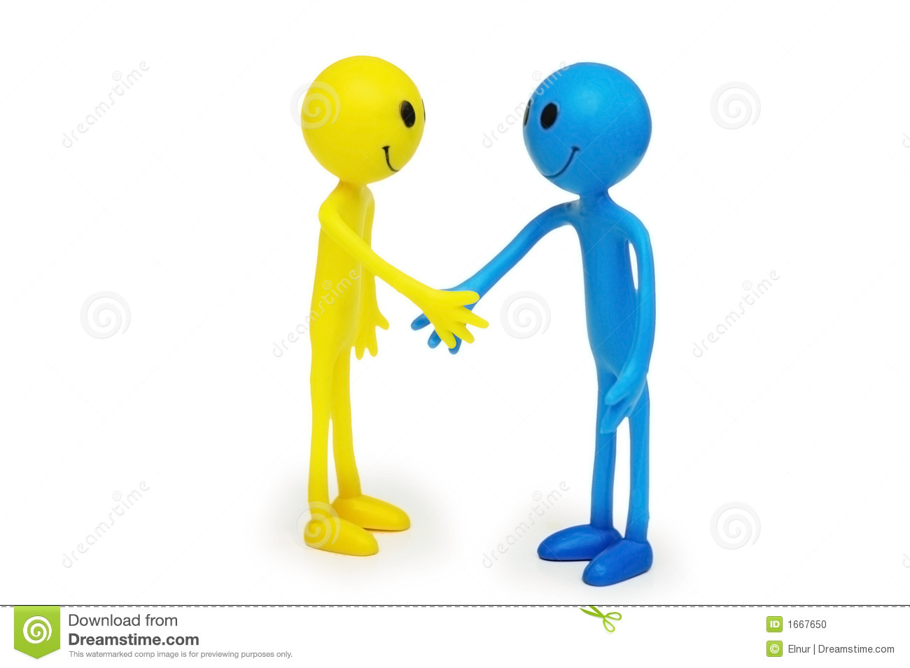 Two Smilies Shaking Hands Isolated Stock Photo Image