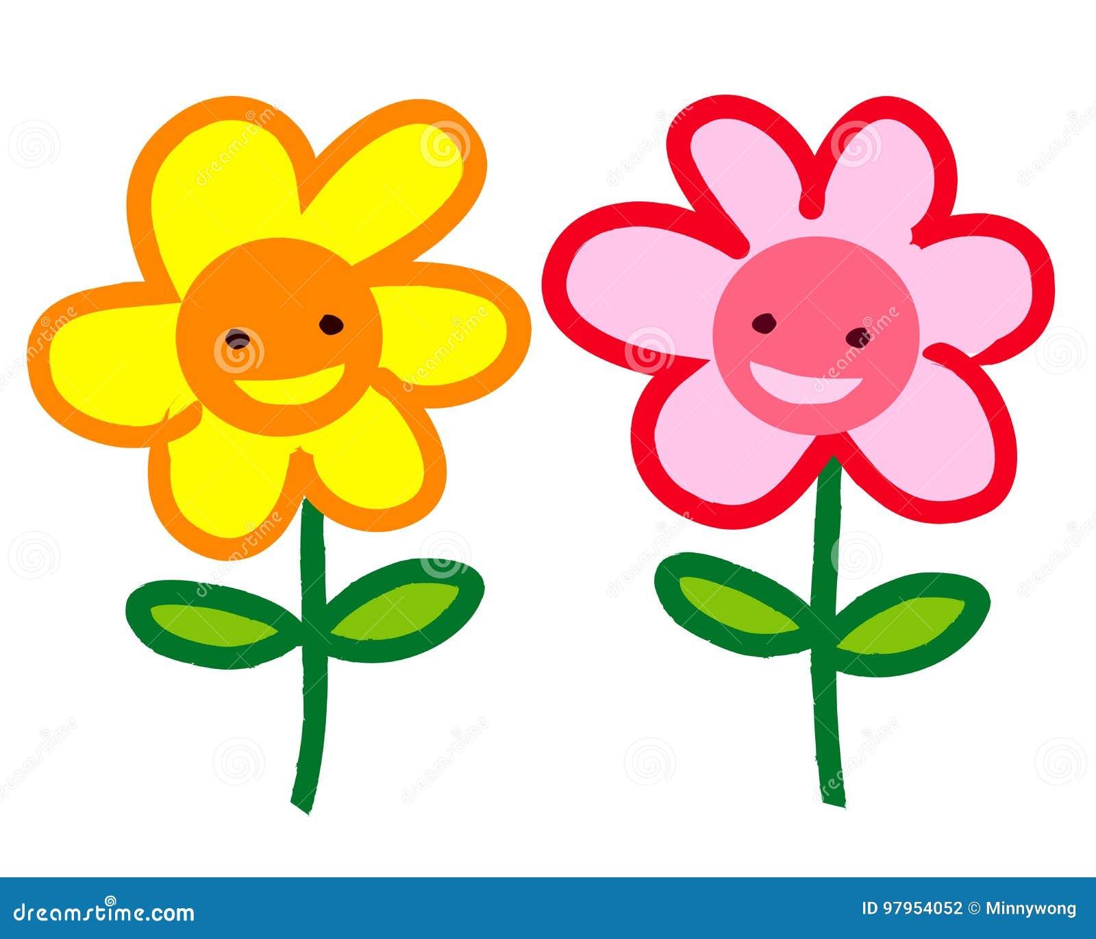 Two Smiling Cartoon Flowers Stock Illustration