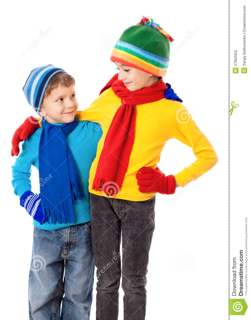 Two Smiling Kids In Winter Clothes Stock Photos - Image: 27953353