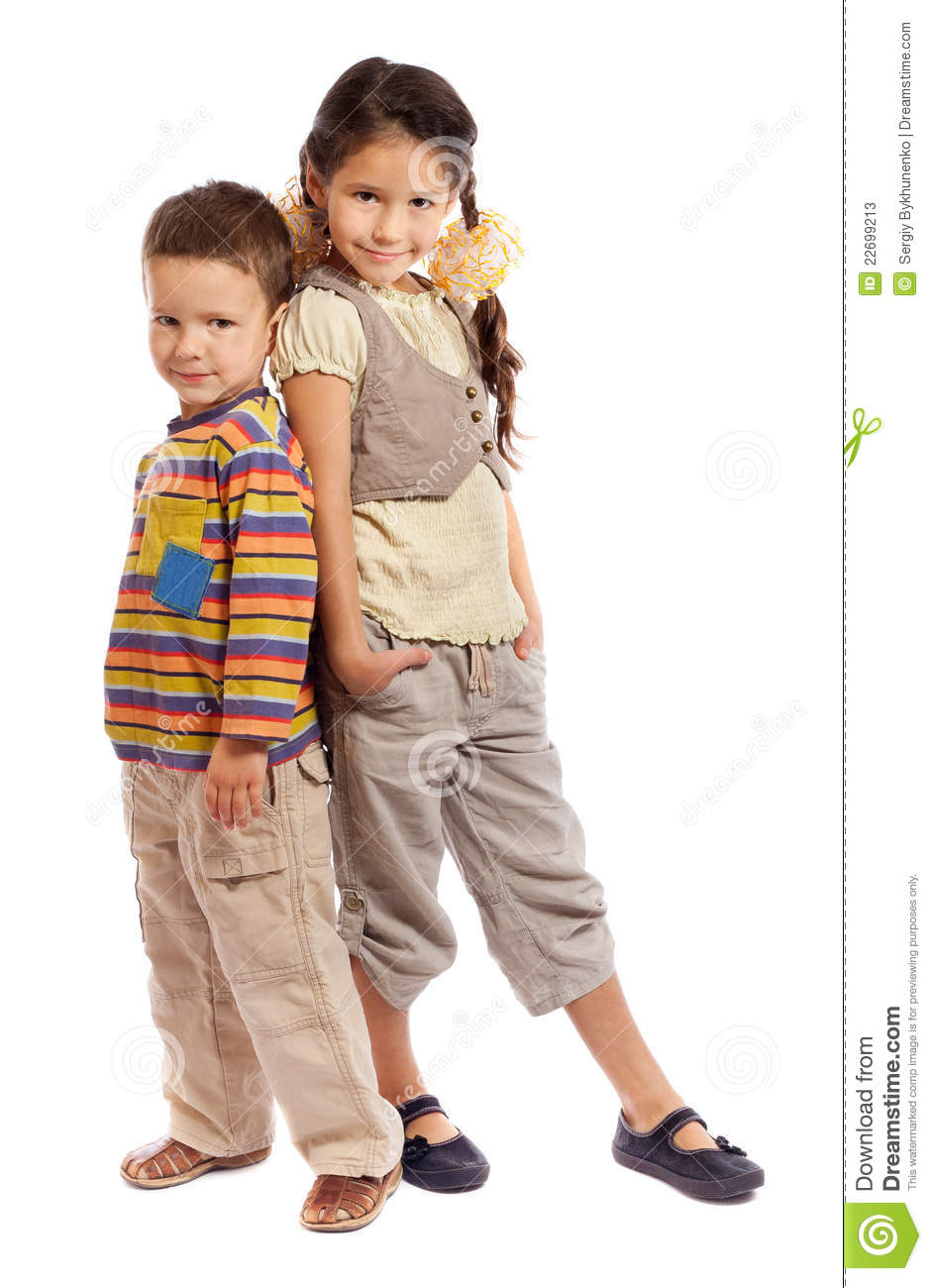 Two Smiling Little Children Standing Together Stock Photos