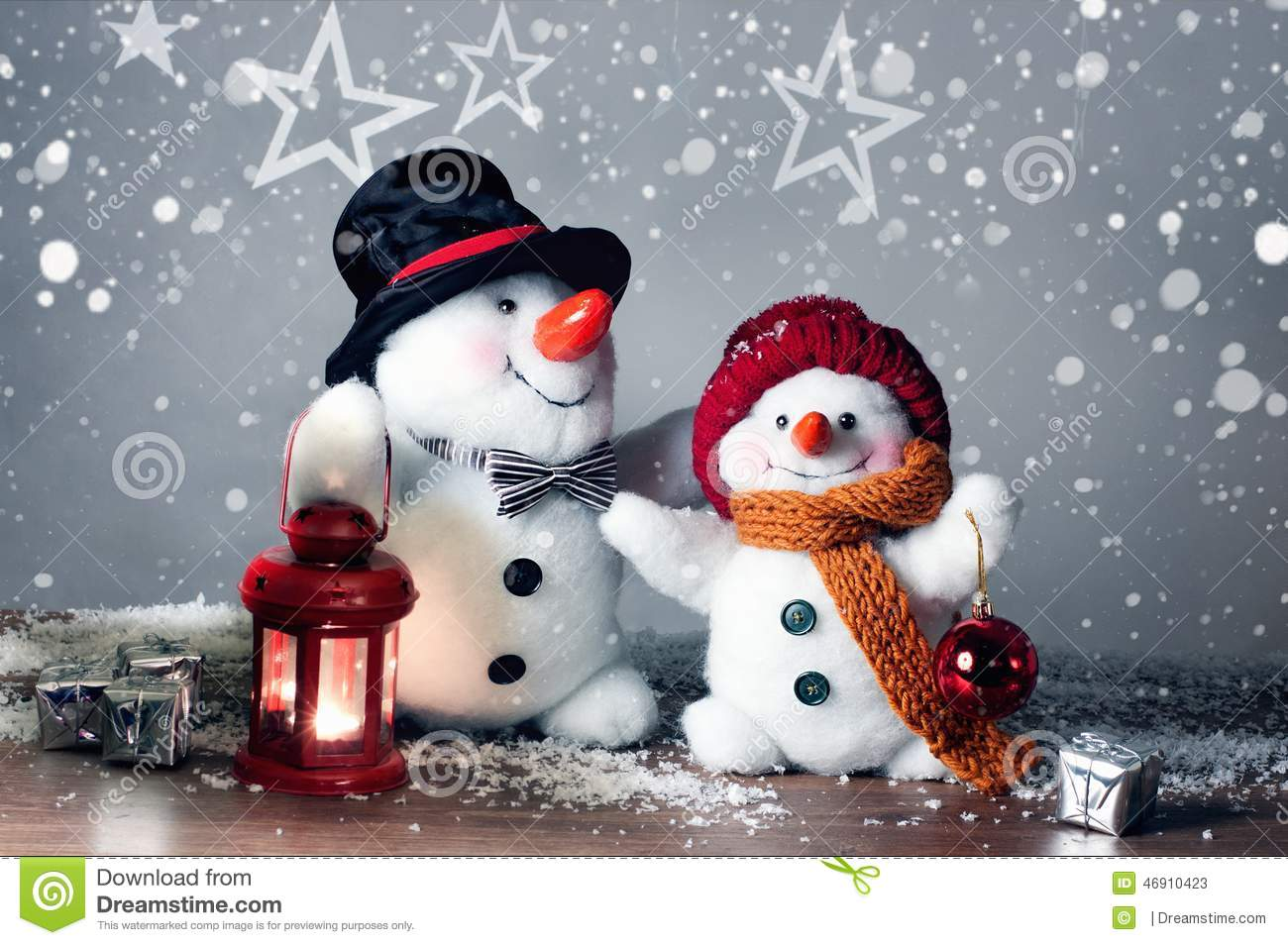 Two Smiling Snowmen In The Snow, No Name Toy Stock Image - Image of ...