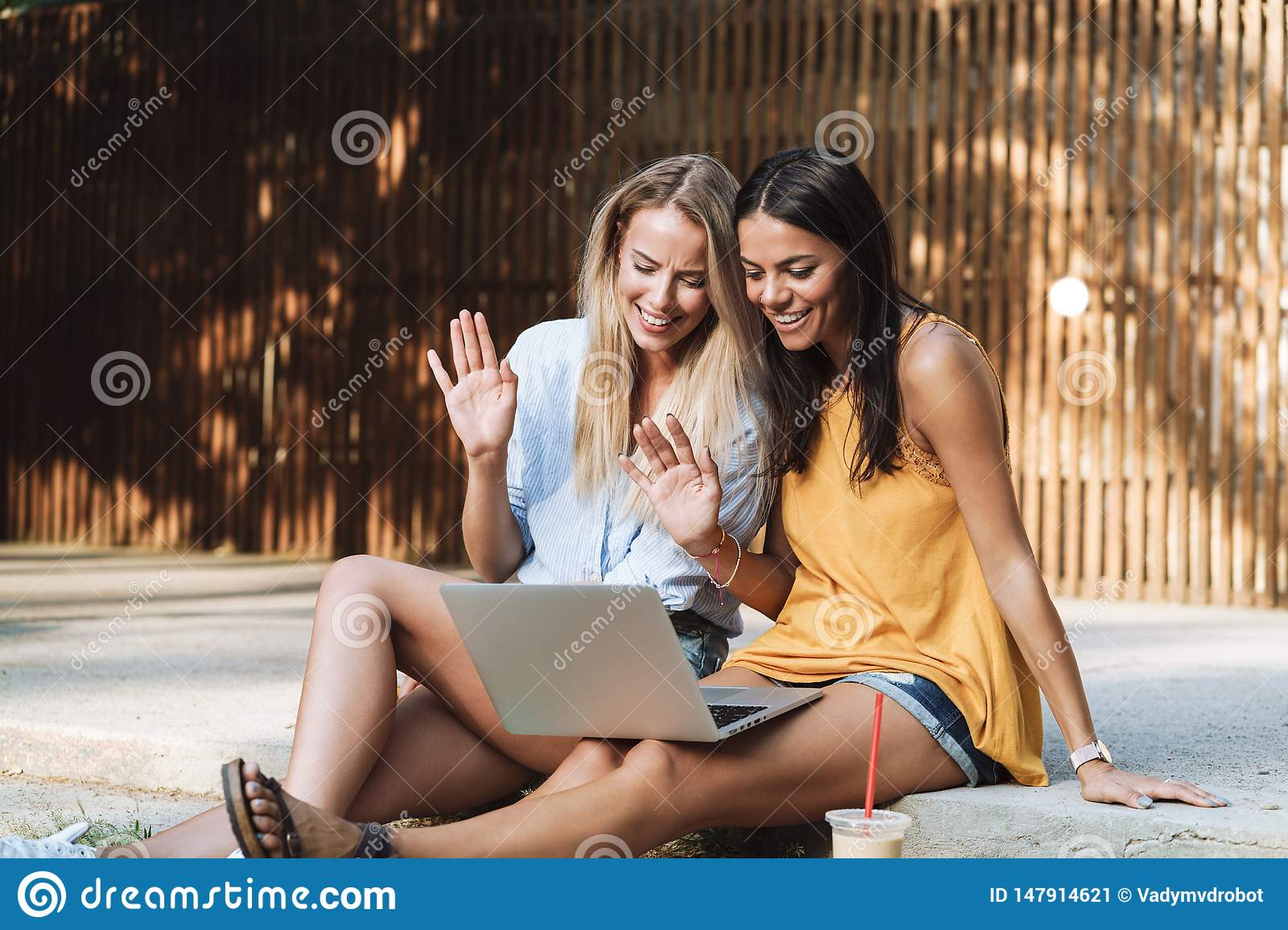 Two smiling young girls using laptop at the park