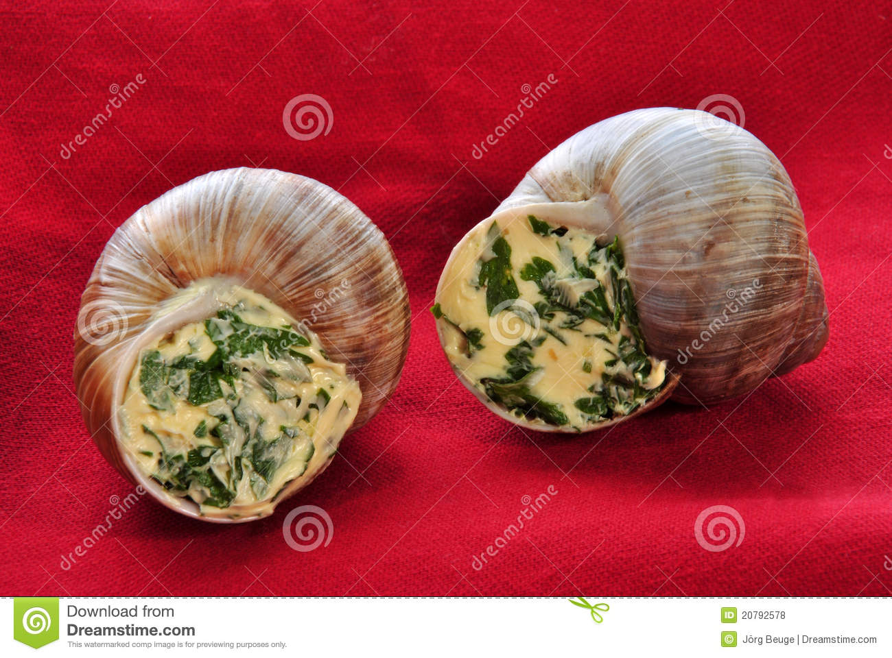 Two Snails With A Delicious Herb Buttercream Royalty Free ...