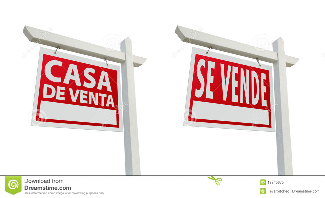 Two Spanish Real Estate Signs With Clipping Paths Stock Image ...