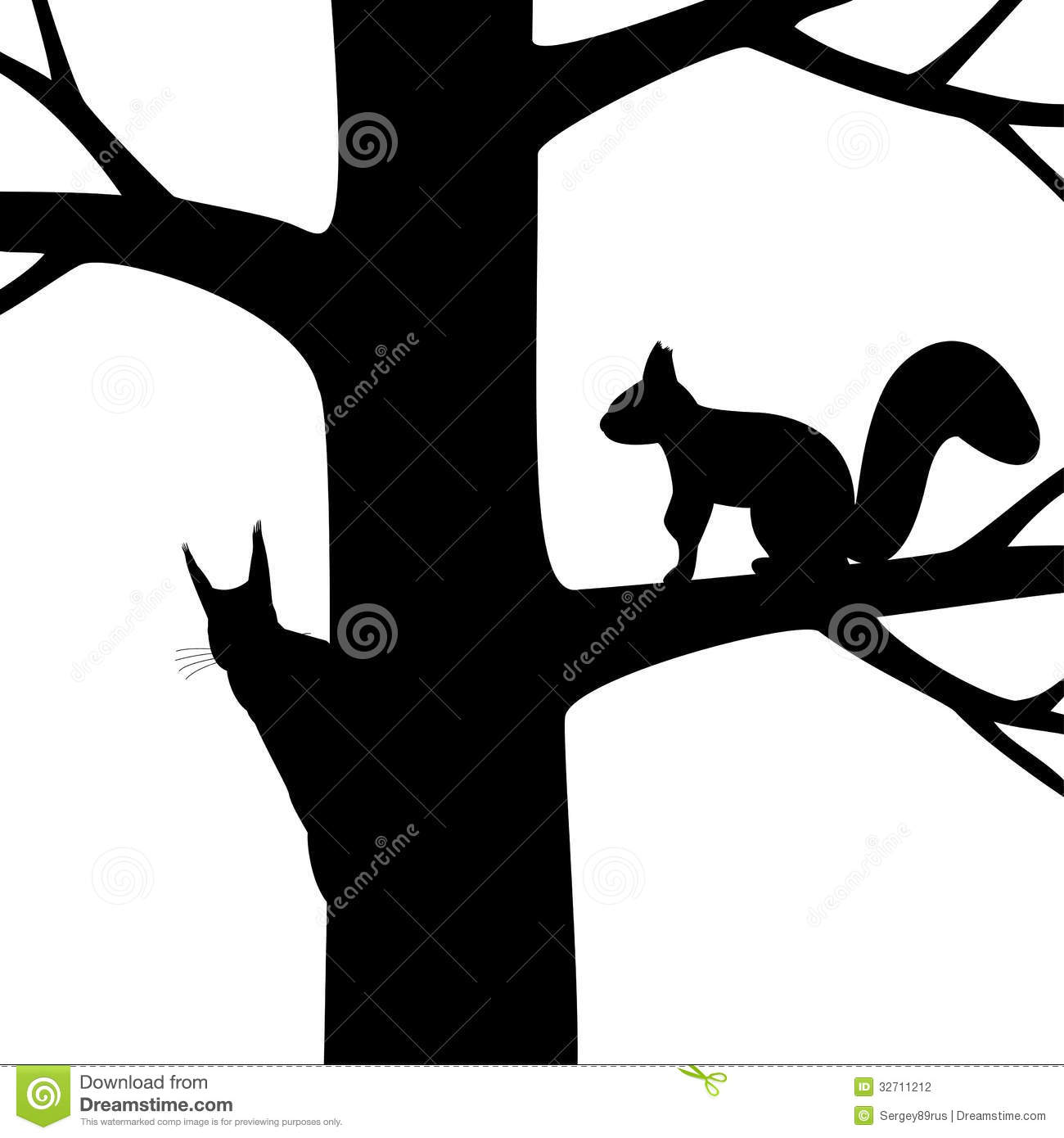 Squirrel Outline Clip Art Two squirrel on the tree.
