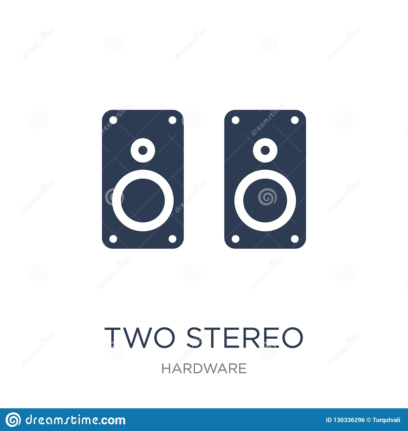 Two Stereo Speakers icon. Trendy flat vector Two Stereo Speakers