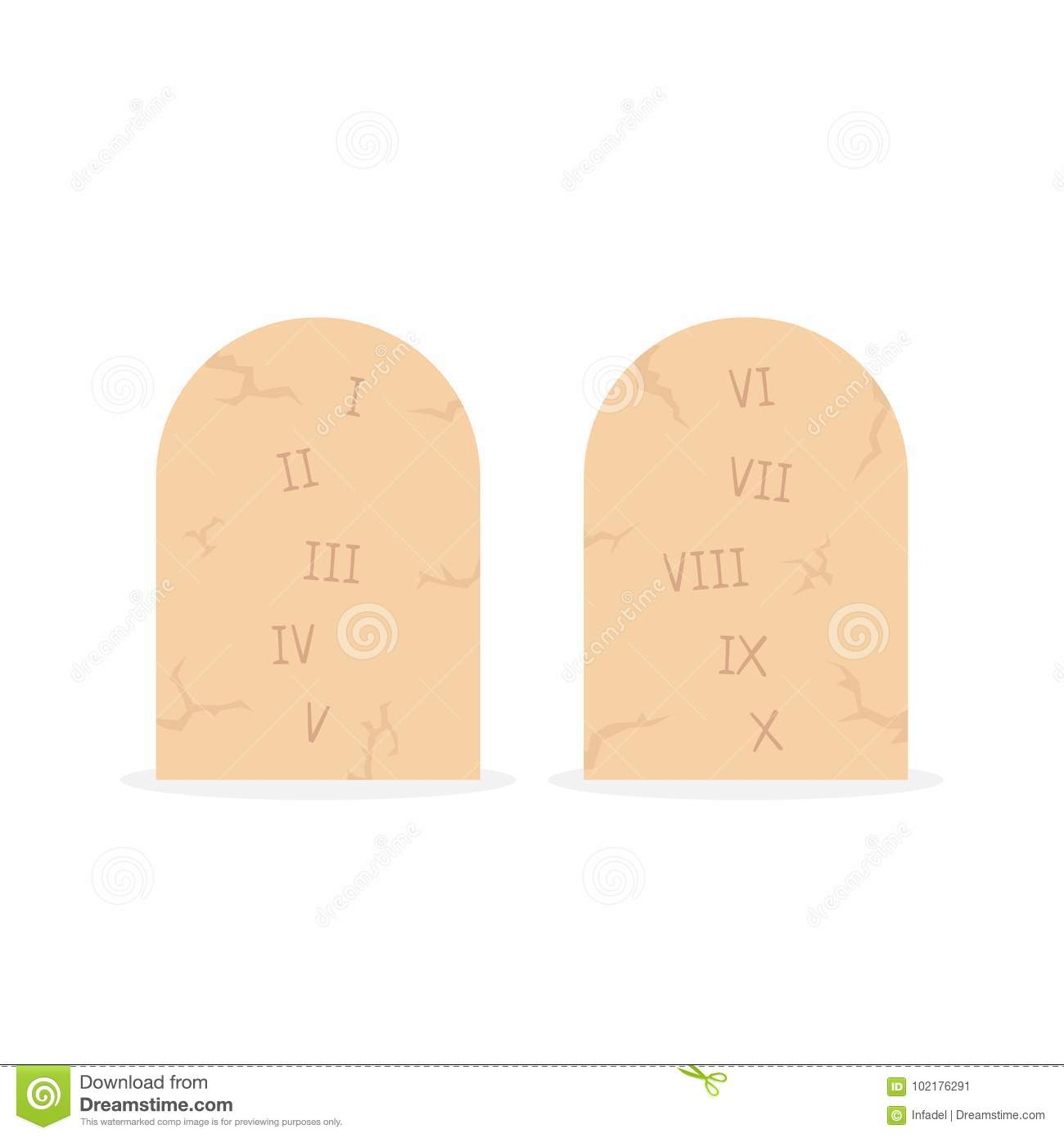 Two Stone Tablets With Ten Commandments