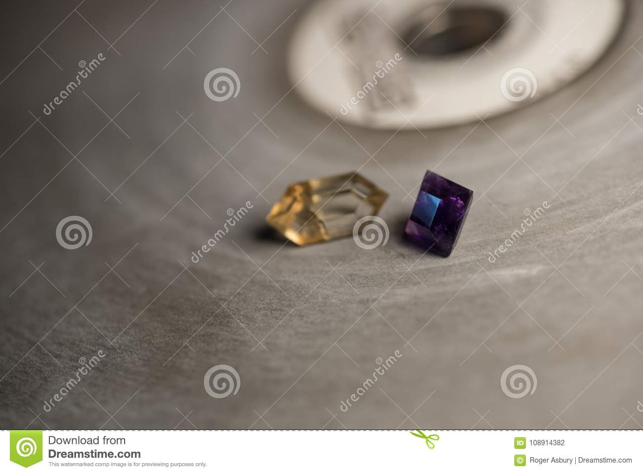 Two stones on faceting lap stock photo  Image of lapidary