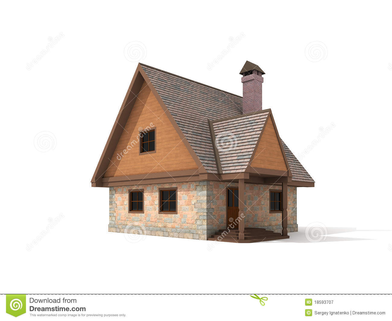 Two Storey Stone House On White Background Royalty Free