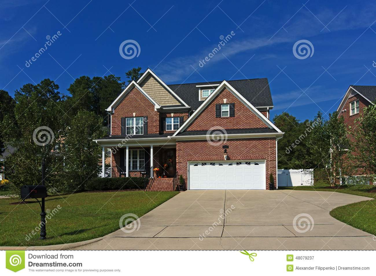 Two Story Brick House Stock Photo Image 48079237