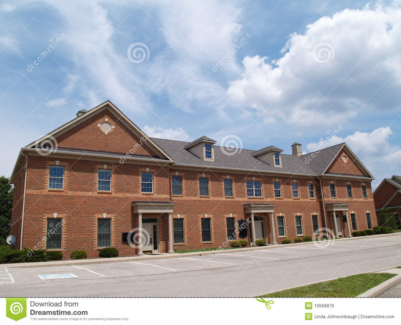 Two story brick office building royalty free stock image for Building an estate
