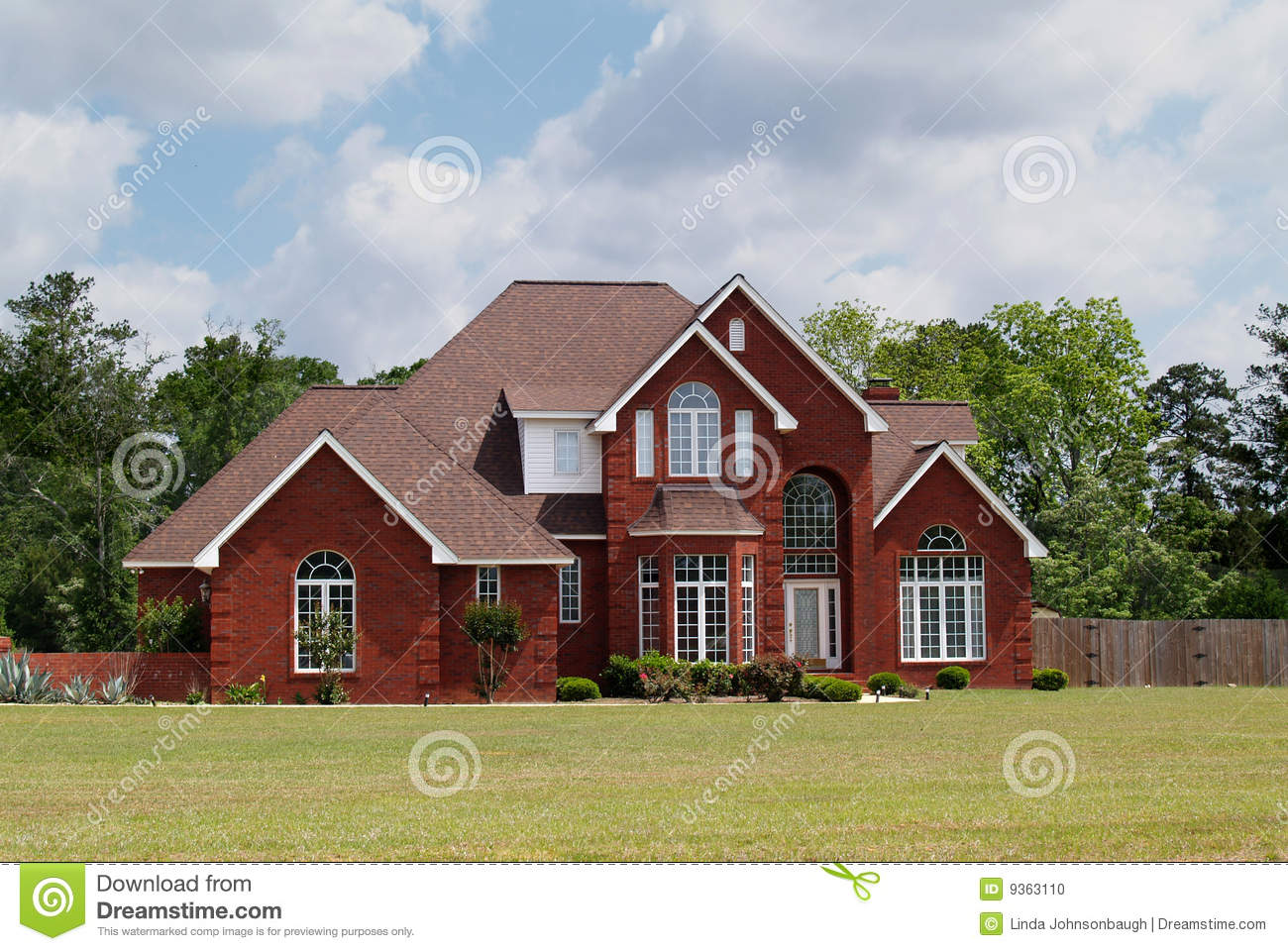 two story brick residential home stock photo image 9363110