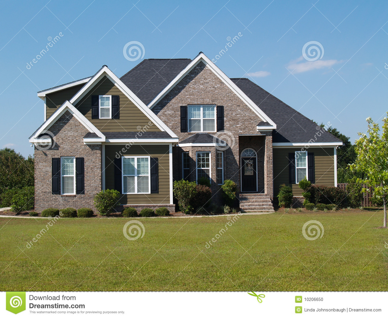 Two Story Brick And Vinyl Home Stock Photo Image Of