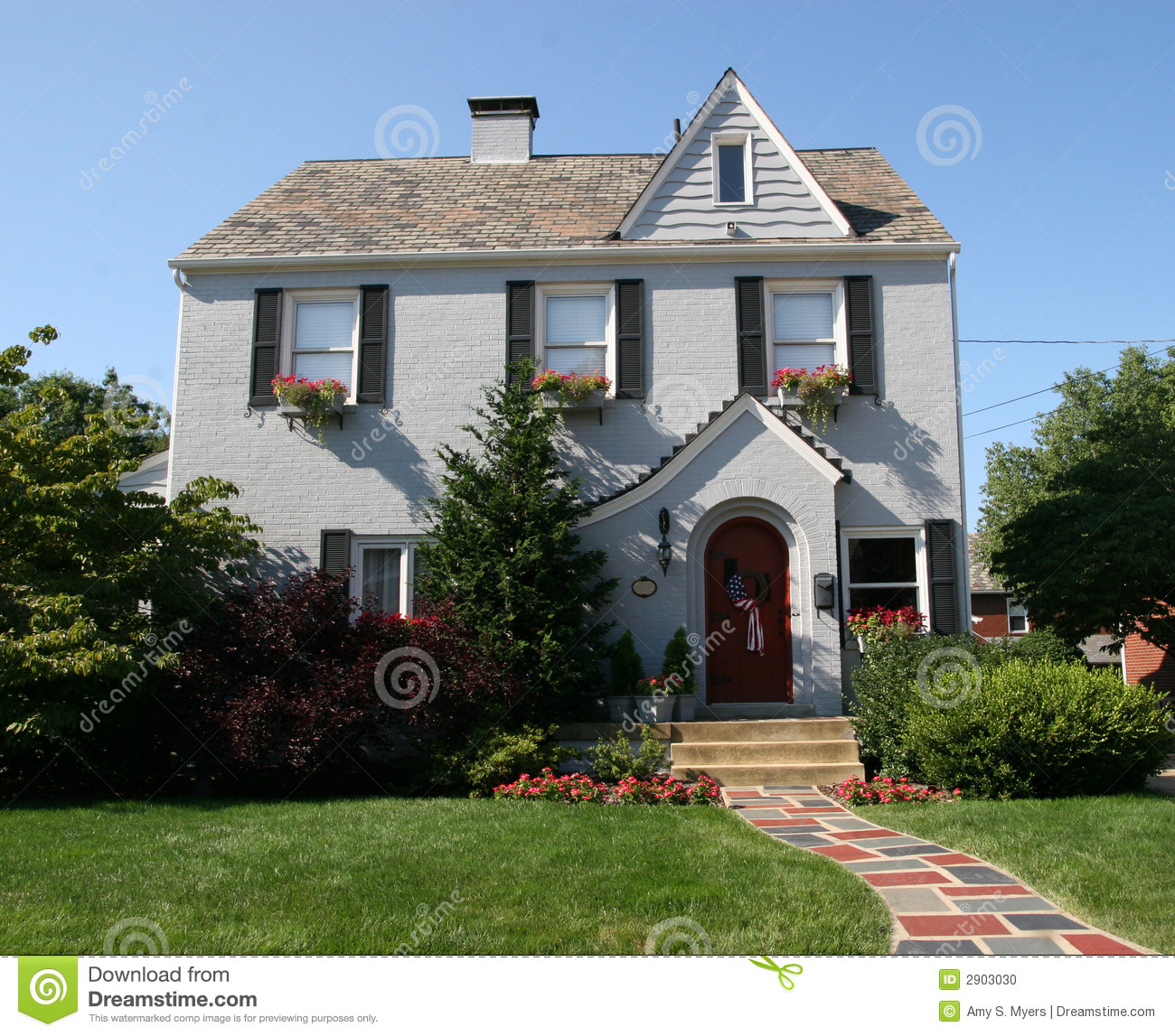 Two story colonial home stock photo image of lawn family for Colonial housing