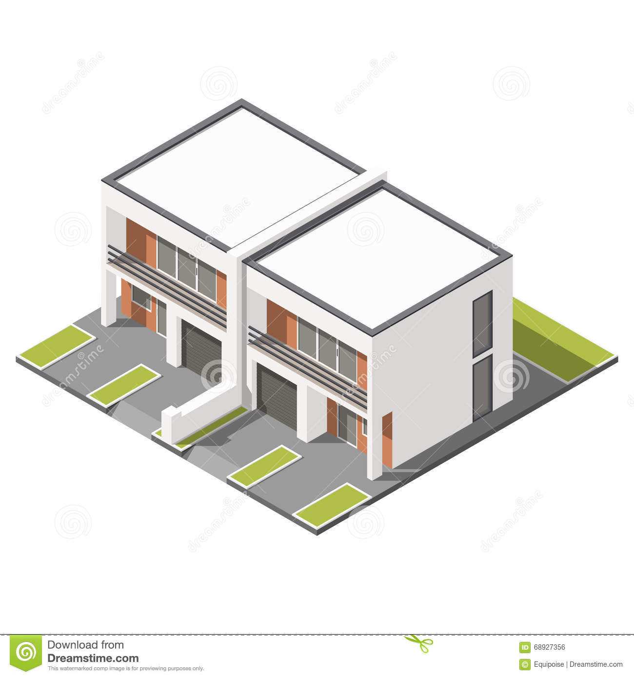 Two Storey Residential House With Attic: Two-storey House With Balcony Icon Cartoon Vector