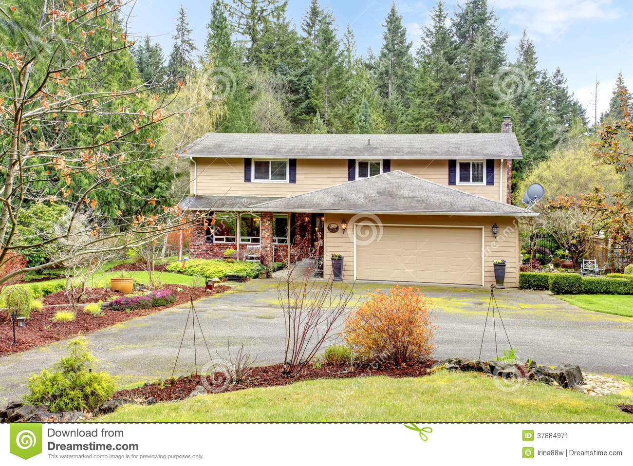 Two Story House With Attached Garage And Open Column Porch Stock Image Image 37884971