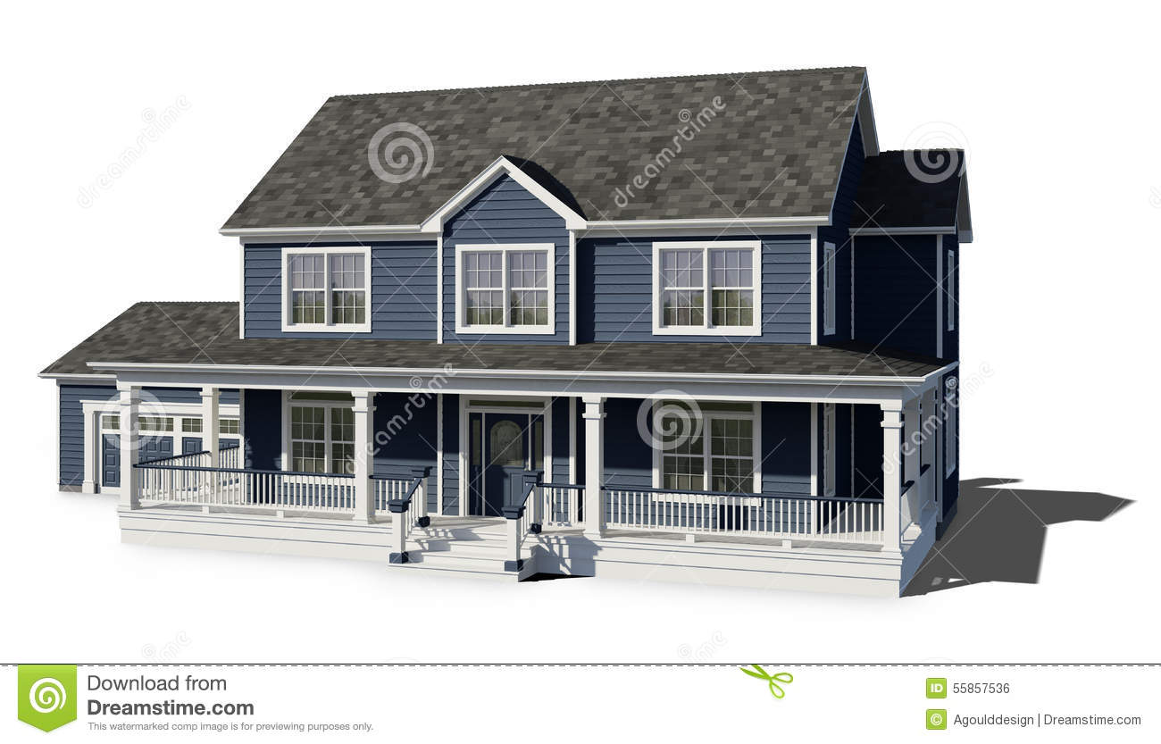 Two story house blue stock illustration image 55857536 for Blue and white house